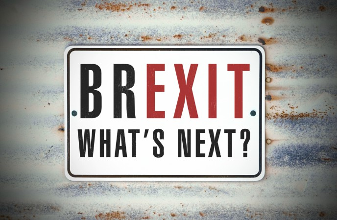 Brexit - what's next for payroll and accounting - sign saying Brexit What's Next